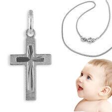 Baby Taufe und Geburt Strahlen Kreuz Anhänger Echt Silber 925 mit 36 cm Kette