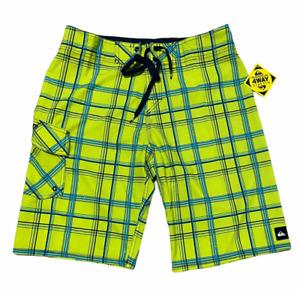 Quicksilver Mens 4 Way Stretch Plaid Board Shorts Neon Yellow Size 32 NWT L@@K
