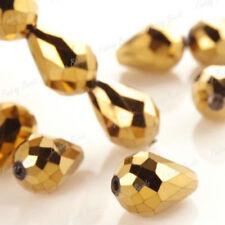 "Real Natural 8x12mm Gold Crystal Teardrop Gems Loose Beads 15"" JL0834"