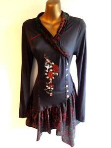 Joe Browns 8 Embroidered long sleeve contrast handkerchief hem BOHO tunic (3508