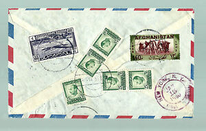 AFGHANISTAN RARE HIGH CAT 10AF AIRMAIL WITH MULTIPLE STAMPS ON REGISTERED COVER