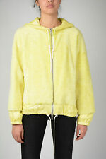 DROME women Jackets Sz S Yellow Hooded Leather Bomber Real Fur Full Zip Yello...