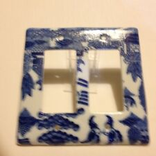BLUE WILLOW ROCKER DOUBLE SWITCH COVER.
