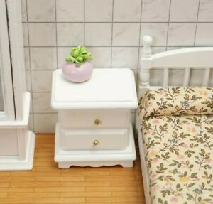 Doll House Accessories 1:12th Miniature - 1 White Bedside Table
