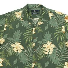 M&S Pure Silk Hawaiian Shirt   Men's L   Aloha Retro Graphic Marks Spencer