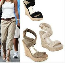 Women retro Braided Wedge Ankle Cross Strap High Heel Platform Sandals shoes