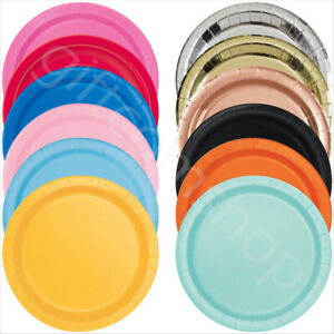 7/9 Inch Round Paper Plates Solid Colour Birthday Disposable Tableware Catering