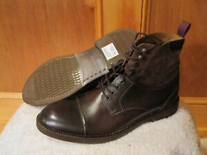 Mens CLARKS Bushwick Peak Brown Leather Suede Ankle Boots Cap Toe 26110621 10.5M