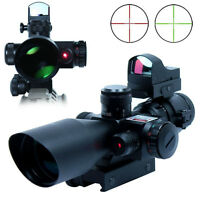 New Hunting 2.5-10X40 Rifle Scope w/ Red Laser & Mini Reflex 3 MOA Red Dot Sight