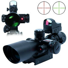 HOT 2.5-10X40 Tactical Rifle Scope w/ Red Laser With Reflex 3 MOA Red Dot Sights