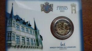"""Luxembourg 2021  2 euros coincard BU """"grand-duc jean"""""""