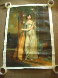 JENSEN LARGE Signed Oil On Canvas young woman playing a harp (ROLLED UP CANVAS)