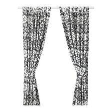 Ikea KUNGSLILJA Curtains with tie-backs, 1 pair, Grey/white, 44% cotton, 56% ram