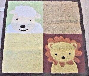 NOAH'S ARK  RUG ~ Nursery 30 x 30 Lamb Lion Green Yellow Kids by Tiddliwinks