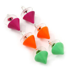 3 Pairs Neon Pink, Neon Orange and Neon Green Stud Earring Set - 10mm Diameter