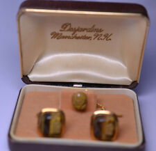 VINTAGE GOLD FILLED CARVED TIGER EYE CAMEO HEAD CUFFLINKS & TIE TACK IN ORIG BOX