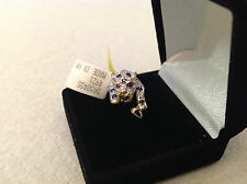 14k yellow gold tiger shaped ring with sapphire