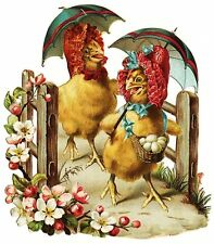 Fabric Block Vintage Easter Postcard Printed onto Fabric Hens Easter Bonnets
