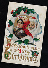 Vintage Antique Postcard We're Sent to Wish You a Merry Christmas - Unused