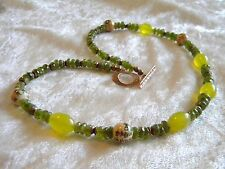 Faceted Green Garnet Yellow Jade Asian Beads Necklace Copper Toggle & Beads