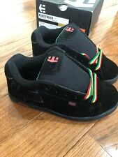 Etnies Kids Fader Black / Rasta Sneakers Lace Up Skate Shoes 2 - Brand New