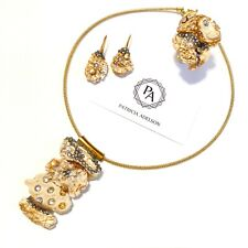 SET - Necklace + Earrings + Ring Corals Grey and Gold Crystals ONE OF KIND