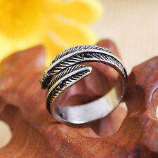 Silver Feather Desgin Stainless Steel Men's Women's Opening Rings Adjustable