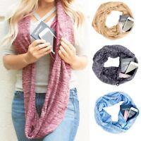 UK Fashion Womens Warm Convertible Infinity Scarf Pocket Loop Zipper Scarves AB