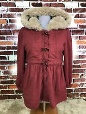 MARC BY MARC JACOBS FUR HOODED RED TOGGLE FRONT FULL ZIP WOMENS JACKET SIZE M