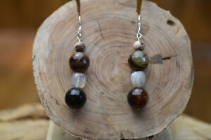 sterling silver and agate drop earrings