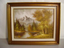 RARE ORIGINAL SIGNED OIL PAINTING S. KENTON FRAMED MOUNTAIN SCENE BEAUTIFUL