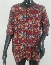 LuLaRoe Irma Tee Shirt Top Size Extra Small Wine Floral Hi Low