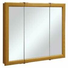 SUNCO Tri-View Medicine Cabinet Mirror with 3-Doors Light Oak 36x30