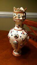 """Vintage Antique 13"""" Porcelain Vase Made In England Gold Accents Flower Flowers"""