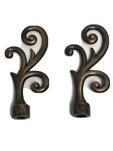 Vintage Curtain Rod Ends Finials Scroll Cast Metal Painted Right & Left Set of 2