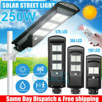 990000LM 250W LED Solar Street Light Commercial IP67 Dusk to Dawn Road Lamp A+