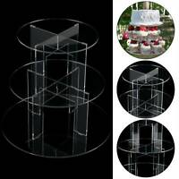 3 Tier Level Round Cupcake Stand Dessert Clear Acrylic Display Cake Stand UK