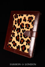 iPad 2 3 4 (Brown Fur Leopard Print) Real Leather Cover Case Stand Folio Tablet