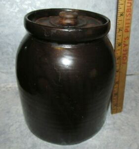 """Old Antique Primitive Stoneware Pottery Cookie Jar / Crock, Brown 8"""" Tall 1800s?"""