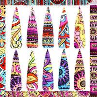 10 Pcs 20X4 cm Native Art Leaf Nail Foil Sticker Transfer Colors Manicure Home