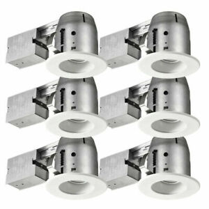 Commercial Electric Swivel Baffle Series 4 in. White Recessed LED Light Kit 6-pk