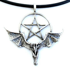 Wicca Pentagram Pentacle Star Bat-Dragon Gothic Pewter Pendant W Black Pvc cord
