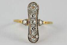 Jugendstil Ring 750 18K Gelbgold & Platin Diamanten ca 0,48 ct Wesselton Vs-Si