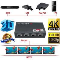 Full HD HDMI Splitter Amplifier Repeater 1080p 4K 4 Port Hub 3D 1 in 4 out 1X4 p