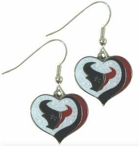glitter heart earring swirl charm NFL Pick your team (Houston Texans)