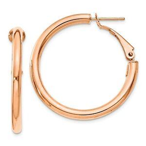 Italian 14k Rose Gold 3mm x 33mm Hollow Tube Round Omega Hoop Earrings