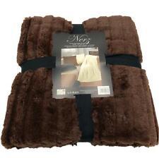 Microfiber Reversible Blanket Mink Look Sofa Cover Chocolate Brown 150x200cm