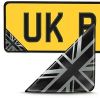 2 x 3D Domed UK Union Jack Flag Number Plate Laptop Helmet Bike Case Stickers