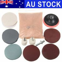 "32Pcs Watch Glass Scrach Remover+8OZ Cerium Oxide+3"" Wheel Felt Polishing Kit AU"