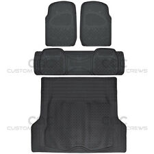 4pc Full Set All Weather Heavy Duty Rubber Black SUV Floor Mats Trunk Liner